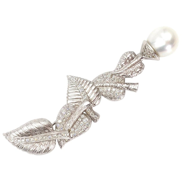 Doris Panos 18 Karat White Gold, Diamond and South Sea Pearl Leaf Brooch For Sale