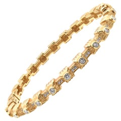 Doris Panos 18 Karat Yellow Gold Diamond Bangle Bracelet