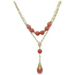 Doris Panos 18 Karat Yellow Gold Tahitian Diamond and Coral Necklace
