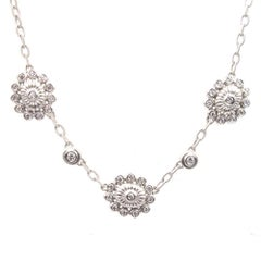 Doris Panos Diamond Flower 18 Karat White Gold Link Necklace