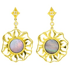 Doris Panos Diamond Mother of Pearl 18 Karat Gold Sunburst Drop Earrings