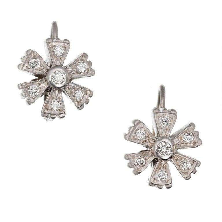 Doris Panos Diamond White Gold Flower Dangle Earrings