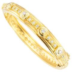 Doris Panos Diamond Yellow Gold Bangle Bracelet