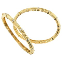 Doris Panos Diamond Yellow Gold Twin Hinged Bangle Bracelets