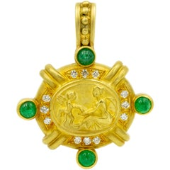 Doris Panos High Relief Angel and Woman Emerald Diamond Yellow Gold Pendant