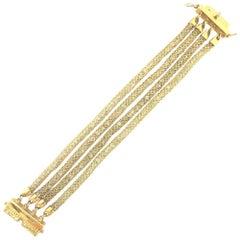 Doris Panos White Topaz Yellow Gold Mesh Bracelet BR7024