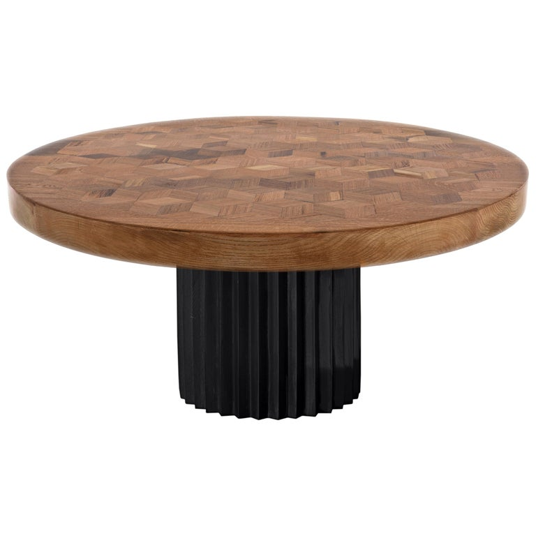 Doris Round Marquetry Table in Reclaimed Oak with Cast Blackened Bronze Pedestal For Sale