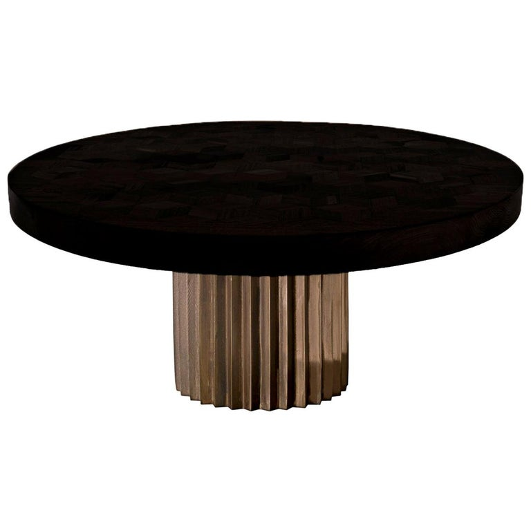 Doris Round Pedestal Dining Table in Ebonized Reclaimed Oak and Cast Bronze For Sale