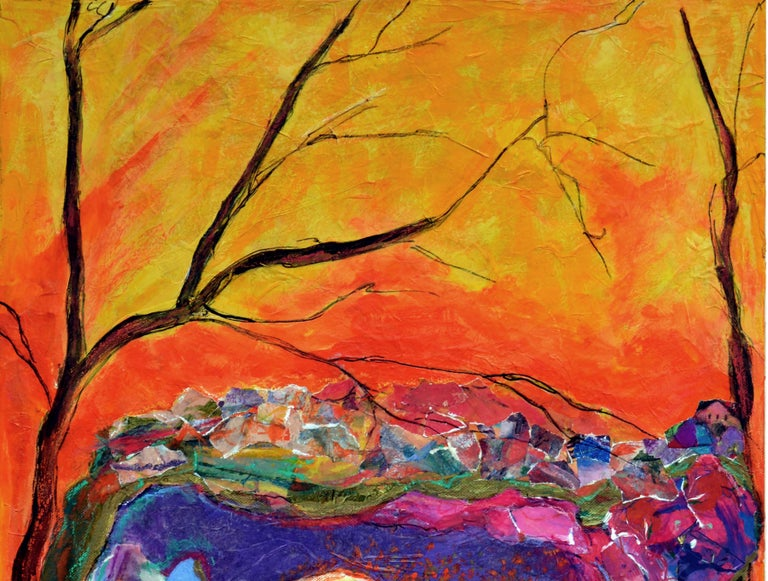 Earth Breath - Abstract Landscape  - Orange Abstract Painting by Doris Sherwyn
