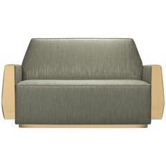 Doris Sofa in Sage Green with Brass Detail