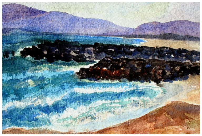 Beach with Purple Mountains abstract Landscape - Double Sided - Painting by Doris Warner