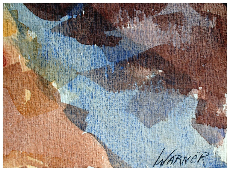 Double-sided watercolor of California beach with distant purple mountains by listed artist Doris Ann Warner (American, 1925-2010). On verso is a rough abstract watercolor with blocked out color fields. Circa 1970's. Image size: 15H X 22L  Doris
