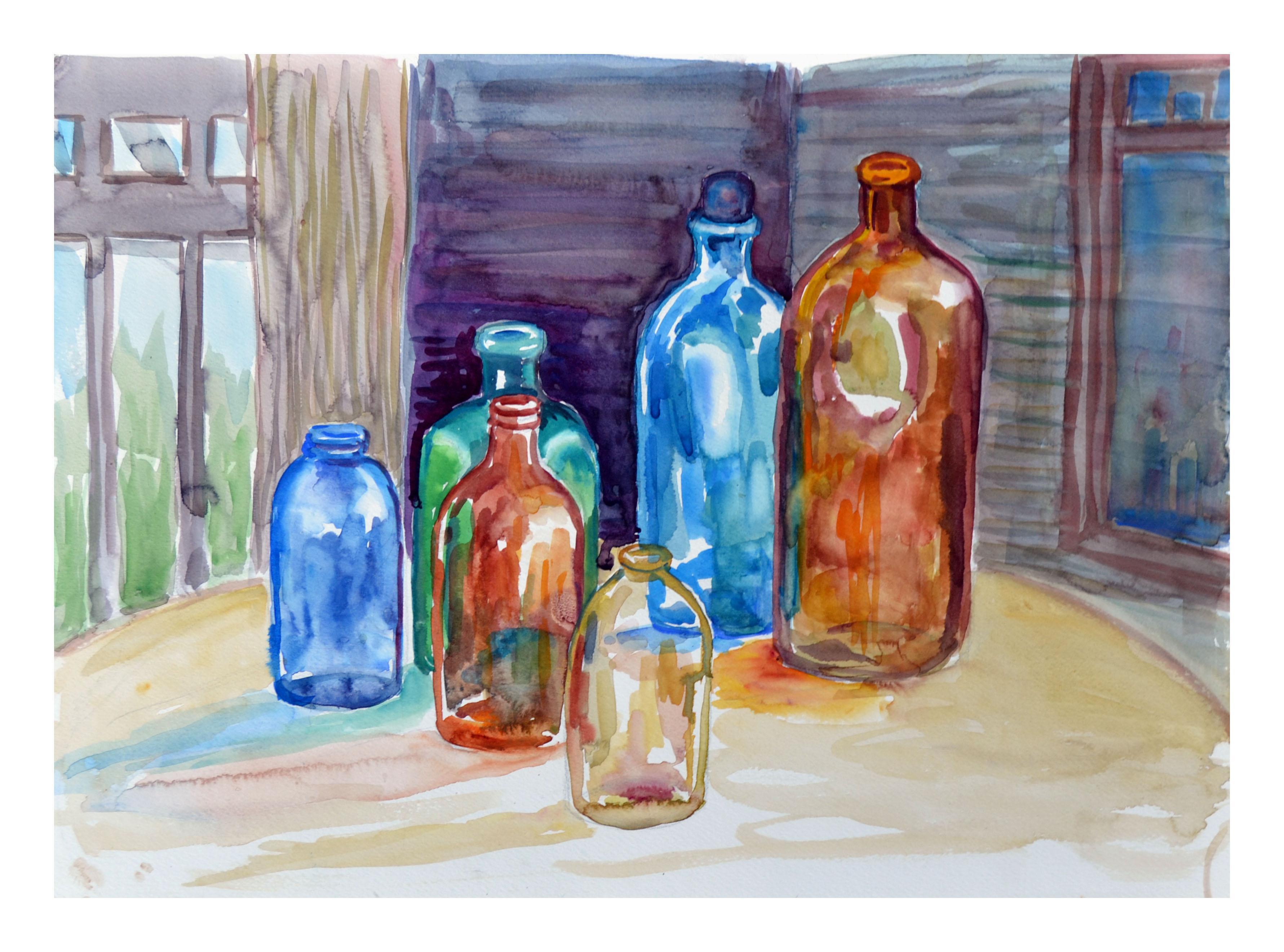 Six Bottles Still Life