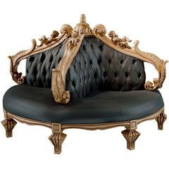 Doris White and Gold Circular Sofa