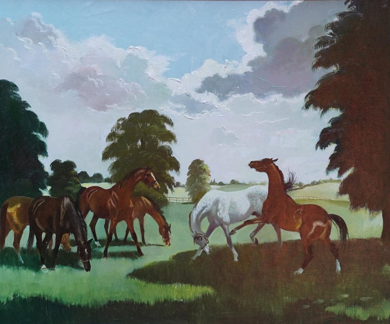 Horses in a Landscape - Scottish 1960's horse portrait oil painting equine art - Painting by Doris Zinkeisen