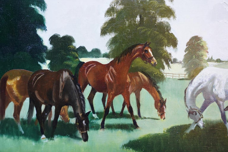 Horses in a Landscape - Scottish 1960's horse portrait oil painting equine art - Gray Animal Painting by Doris Zinkeisen
