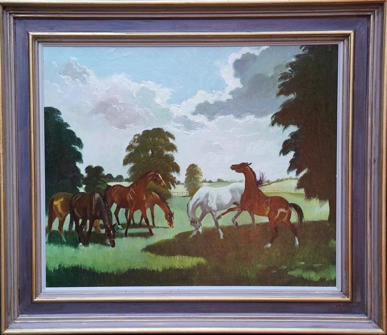 Horses in a Landscape - Scottish 1960's horse portrait oil painting equine art For Sale 4
