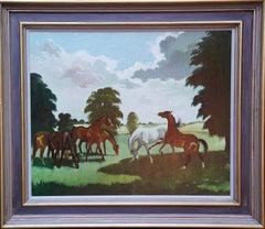 Horses in a Landscape - Scottish 1960's horse portrait oil painting equine art