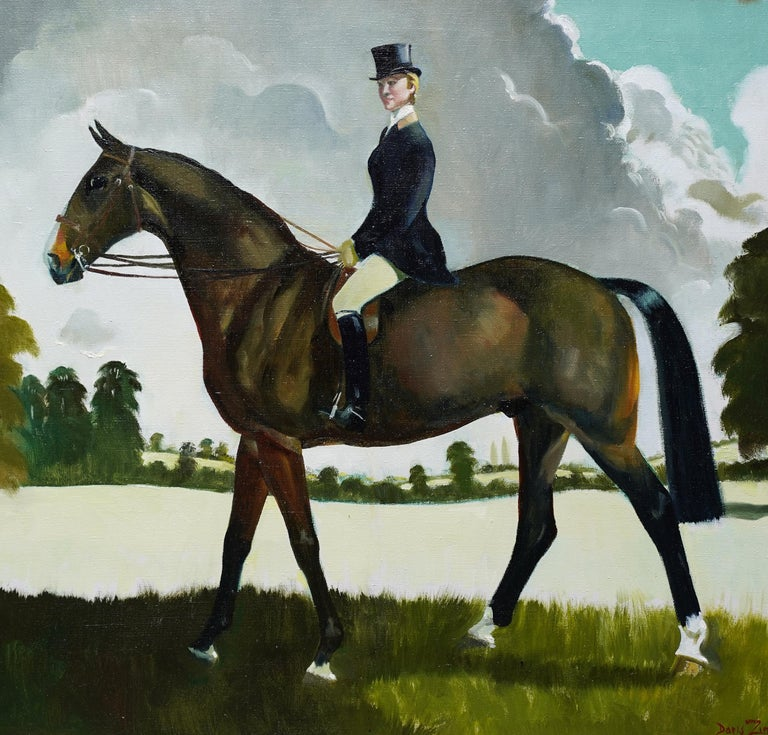 Miss Moggy Hennesey on her Hunter - Scottish 60s art horse portrait oil painting - Realist Painting by Doris Zinkeisen