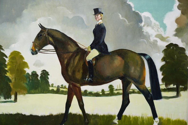 Miss Moggy Hennesey on her Hunter - Scottish 60s art horse portrait oil painting - Brown Portrait Painting by Doris Zinkeisen