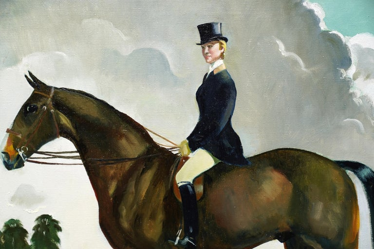 This superb horse portrait with rider is by keen Scottish horse artist and rider, Doris Zinkeisen. Painted circa 1960 the rider is Miss Margaret 'Moggy' Hennesey. Moggy, well known and highly regarded as a rider, producer and trainer enjoyed