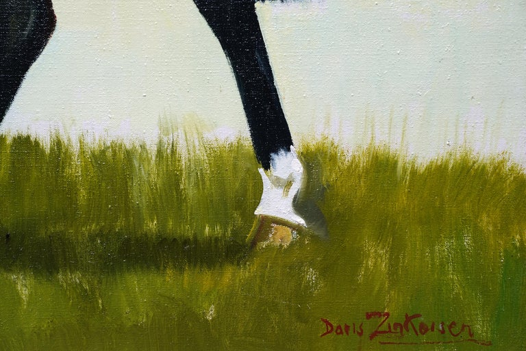 Miss Moggy Hennesey on her Hunter - Scottish 60s art horse portrait oil painting For Sale 1