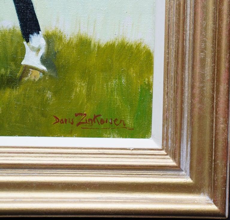 Miss Moggy Hennesey on her Hunter - Scottish 60s art horse portrait oil painting For Sale 2