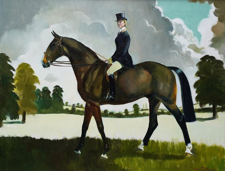 Miss Moggy Hennesey on her Hunter - Scottish 60s art horse portrait oil painting For Sale 4