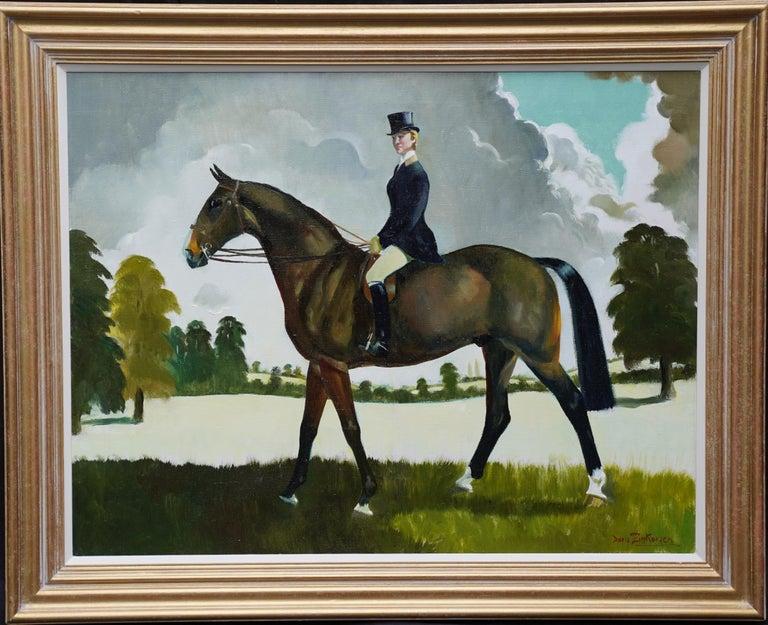 Doris Zinkeisen Portrait Painting - Miss Moggy Hennesey on her Hunter - Scottish 60s art horse portrait oil painting