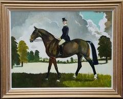 Miss Moggy Hennesey on her Hunter - Scottish 60s art horse portrait oil painting