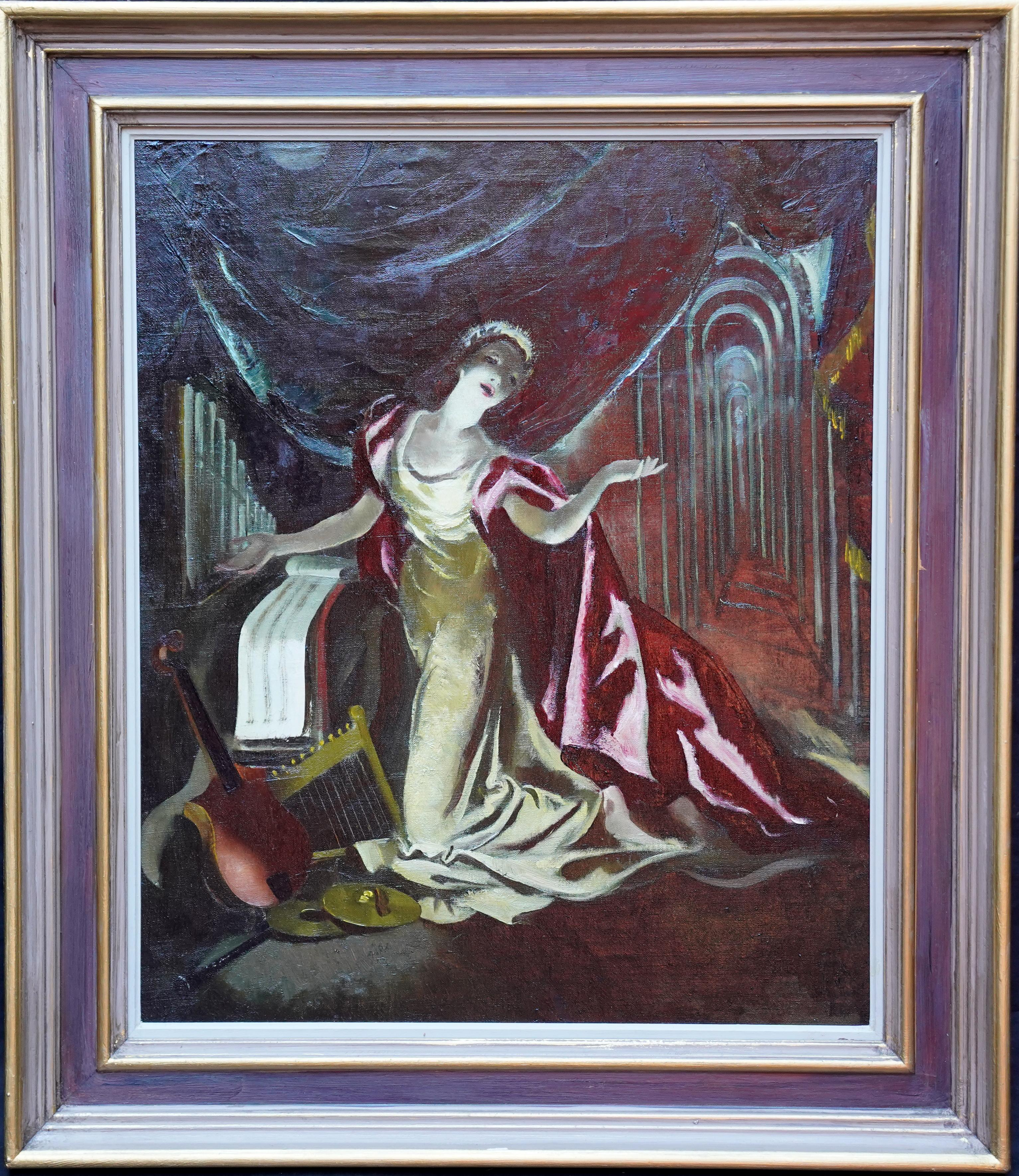 Portrait on Stage - Red Cape - Scottish 60s art theatrical portrait oil painting