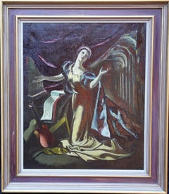 Theatrical Musical Portrait, Blue Cape - Scottish 1960's female art oil painting