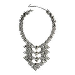 D'Orlan Silver Tone 1970s Abstract Bib Necklace