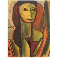 Dorlen Court, Mixed Media on Paper, Cubist Portrait of a Woman, Dated 1971
