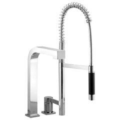 Dornbracht Germany Three-Hole Faucet and Prep Sprayer Set, Chrome Platinum