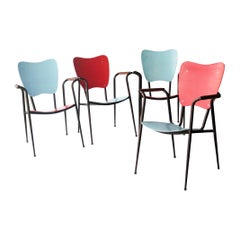 Doro Cundo Black Red Blue Natural Fiber Metal Wood Italian Chairs, 1980