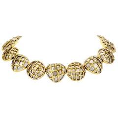 Dorota Heavy 18 Karat Gold Button Chocker Necklace
