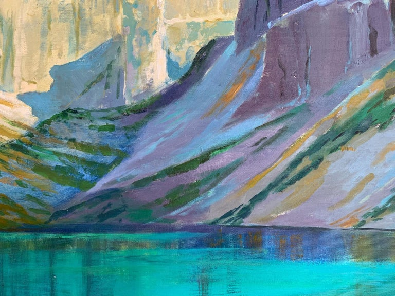 Black Pond - Figurative Oil Painting, Landscape, Mountains, Colorful 1