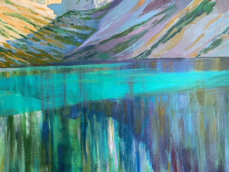 Black Pond - Figurative Oil Painting, Landscape, Mountains, Colorful 2
