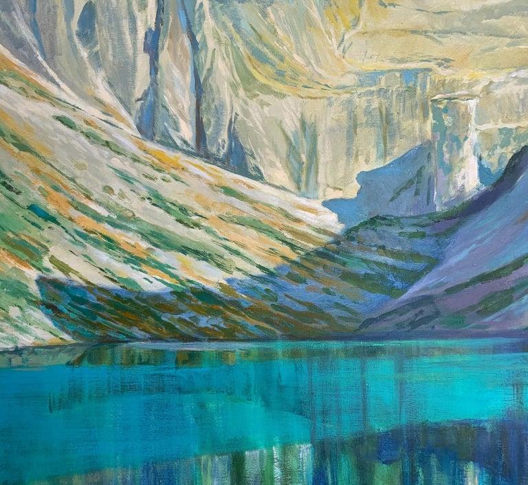 Black Pond - Figurative Oil Painting, Landscape, Mountains, Colorful 3