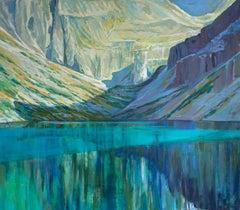 Black Pond - Figurative Oil Painting, Landscape, Mountains, Colorful