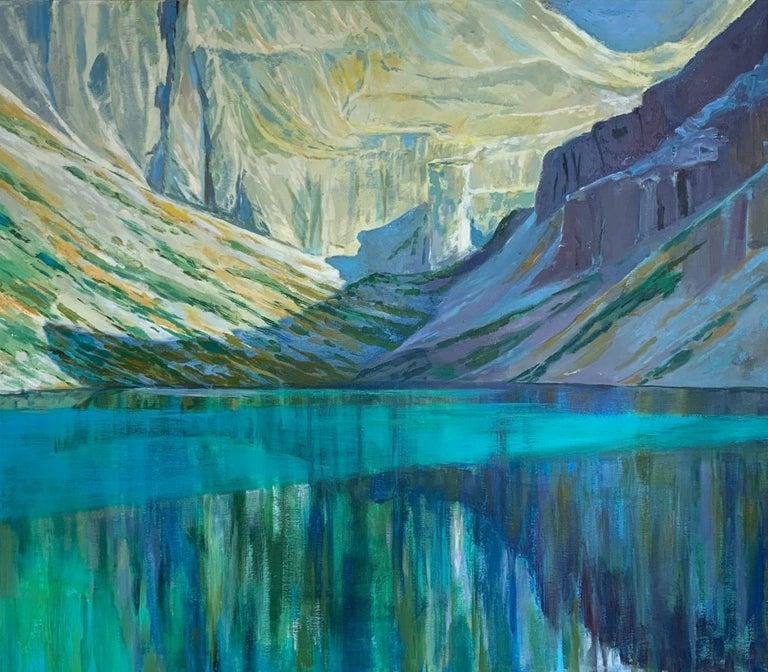 Dorota Zych-Charaziak Figurative Painting - Black Pond - Figurative Oil Painting, Landscape, Mountains, Colorful