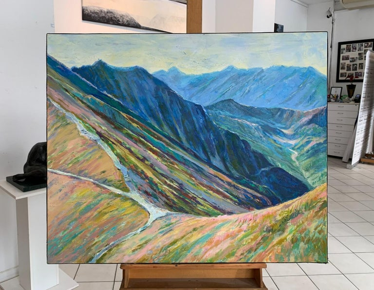 Liliowe Pass - Figurative Oil Painting, Landscape, Mountains, Colorful - Gray Figurative Painting by Dorota Zych-Charaziak