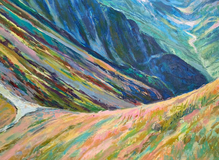 Liliowe Pass - Figurative Oil Painting, Landscape, Mountains, Colorful For Sale 1