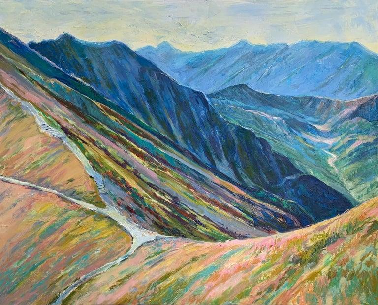 Dorota Zych-Charaziak Figurative Painting - Liliowe Pass - Figurative Oil Painting, Landscape, Mountains, Colorful