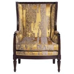Dorotea Italian Armchair with Hand Carved Frame Painted Ebony by Zanaboni