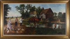 Dorothea Hyde - Contemporary Oil, Horses In The Creek