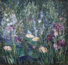 The Lily Pond, Landscape painting by Dorothea Litzinger (1889-1925, American)