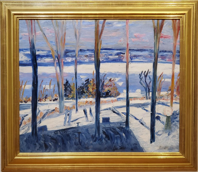 "Winter Landscape an Oil Painting signed by Dorothea Litzinger.   This antique landscape painting measures 28.5"" tall by 34"" wide and is oil on canvas laid down on a rigid support.   In the frame this landscape painting measures 41"" wide by 35.5"""