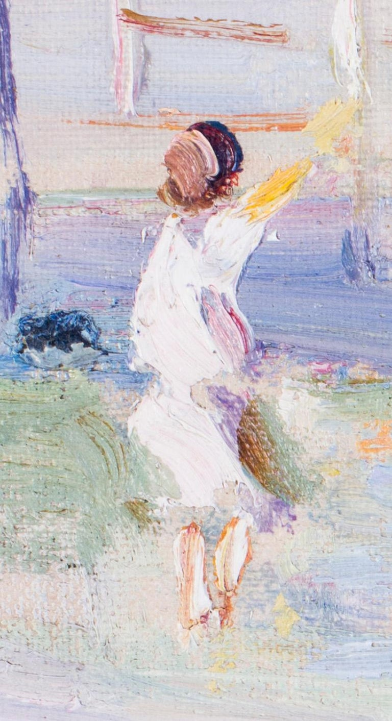 British, Impressionist oil painting by Dorothea Sharp of children on a beach For Sale 3